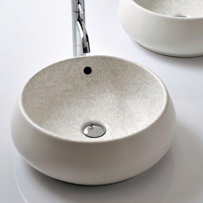 Bissonnet Boutique Ceramic Circular Vessel Bathroom Sink Overflow