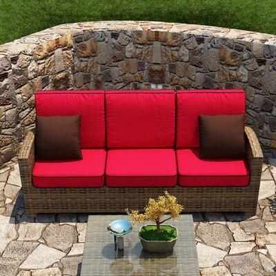 Forever Patio Sofa Cushion Flagship Ruby Canvas Brown Welt
