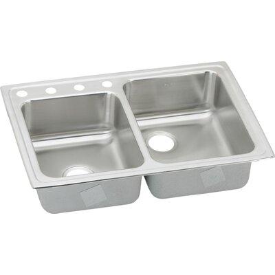 "Gourmet 33"" x 22"" Double Basin Drop-In Kitchen Sink Faucet Drillings: 4 Hole -  Elkay, LR250L4"